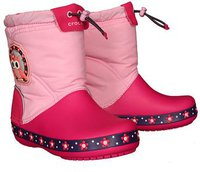 Crocs Kids CrocsLights LodgePoint Night Owl Boot party pink/candy pink