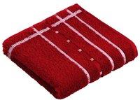 Vossen Quadrati Handtuch rubin/weiß (50x100cm)