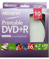 Memorex DVD+R 4,7GB 120min 16x bedruckbar 10er Spindel