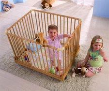 Baby-Plus Laufgitter 100 x100 cm Buche mit Rollen