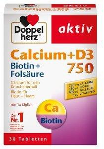 Queisser Doppelherz Calcium 750 + D3 + Biotin Tabletten (30 Stk.)