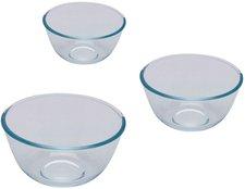 Pyrex Glas-Schüssel 3er-Set 0,5 Ltr. & 1 Ltr. & 2 Ltr.