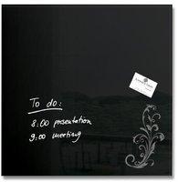 sigel Glas-Magnetboard (48 x 48 cm) GL115  schwarz mit floralem Ornament