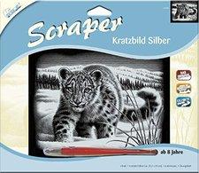 Mammut Scraper Kratzbild ohne Rahmen Silber quer - Schneeleopard