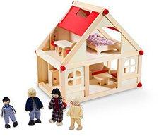 Glow2B Puppenhaus mit 9 Möbeln und 4 Puppen