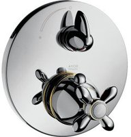 Axor Carlton Thermostatbatterie mit Absperrventil (Chrom/Gold, 17705090)