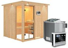Karibu Helin mit Dachkranz 9 kW Bio-Ofen