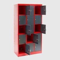 Dema Schließfachschrank 15 Fächer rot/anthrazit (40565)