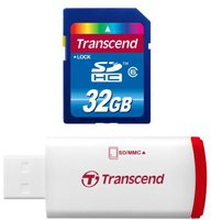 Transcend Premium SDHC 32GB Class 6 with P2 Card Reader (TS32GSDHC6-P2)