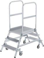 Steigtechnik Günzburger Aluminium-Podestleiter,beidseitig begehbar, 6 Stufen