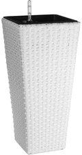 Gartenfreude Pflanzgefäß Polyrattan eckig (28 x 28 x 60 cm) - weiß
