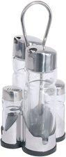 Contacto Edelstahl Menage Salz, Pfeffer, Essig und Öl / Kunststoffboden