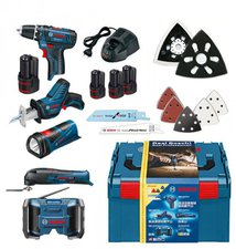 Bosch Set 5 Tools 0615990EW8 (GSR + GOP + GLI + GML + GSA V-LI + L-BOXX + 3 x 1,5 Ah)