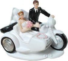 Udo Schmidt Dekofigur Brautpaar auf Motorrad mit Beiwagen