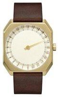 Slow Jo 18 Dark Brown Vintage Leather Gold Case Gold Dial