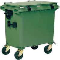 E/D/E Müllgroßbehälter Kunststoff mit Flachdeckel 660 Liter grün