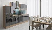 Respekta Küchenzeile Premium 280 cm Schwarz-Akazie (RP280ASC)