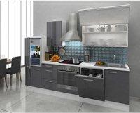 Respekta Küchenzeile Premium 280 cm Grau-Weiß (RP280WGC)