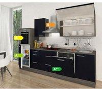 Respekta Küchenzeile Premium 280 cm Schwarz-Eiche Grau (RP280HES)