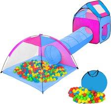 TecTake Würfel Pyramide Kinderzelt mit Tunnel + 200 Bälle + Tasche