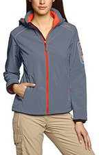 CMP Campagnolo Women Softshell Jacket Zip Hood (3A05396) Grey-Campari
