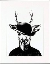 """Home Affaire gerahmter Kunstdruck  """"Reh in Spaziergang-Kleidung """" schwarz/weiß (33x43cm)"""