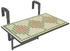 Greemotion Mosaik-Balkonhängetisch 60 x 35 cm (Metall-Keramik)