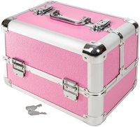 TecTake Kosmetikkoffer mit 4 Ablagefächern pink