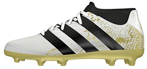 adidas Unisex-Kinder Ace 16.3 Primemesh AG J Fußballschuhe, Weiß (FTWR White/Core Black/Gold Metallic), 37 1/3 EU