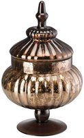 Trendfabrik Winterromantik Glas, braun Pokal mit Deckel 32cm
