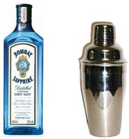 Bombay Sapphire Sapphire London Dry Gin mit Cocktailshaker 1l 40%