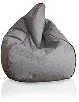 Kinzler Sitzsack Leinenoptik Neon-Piping pink