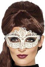 Smiffys Stickerei Augenmaske mit Spitze weiß