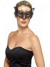 Smiffys Venezianische Feline Metall-Augenmaske schwarz
