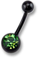 ZEEme Bauchnabelpiercing schwarz mit grünem Kri...