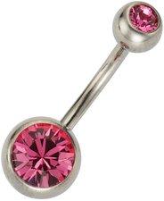 ZEEme Bauchnabelpiercing mit pinkem Kristall (5...